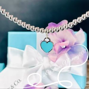 Tiffany & Co. Return to Tiffany Blue Heart Tag Bead Necklace in Sterling Silver